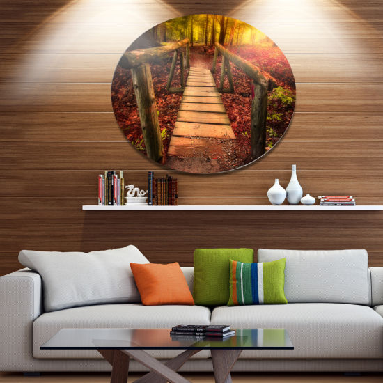 Design Art Beautiful Footbridge in Golden Light Bridge Metal Circle Wall Art
