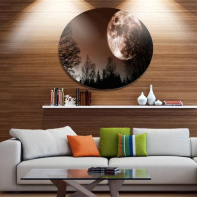 Design Art Red Moon Rise over Dark Trees LandscapeMetal Circle Wall Art
