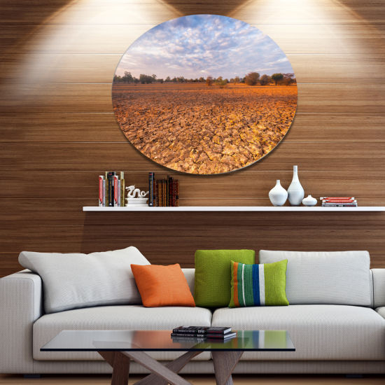 Design Art Amazing View of African Landscape Landscape Metal Circle Wall Art