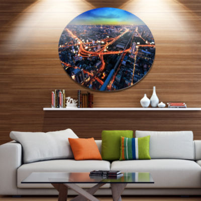Design Art Bangkok Expressway Aerial View Extra Large Metal Circle Wall Art