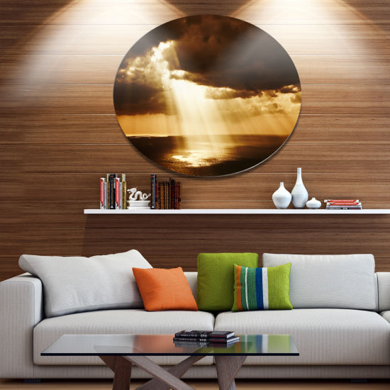 Design Art Dramatic Sunset with Sunrays LandscapeMetal Circle Wall Art