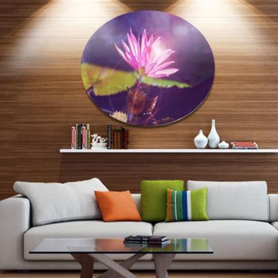 Design Art Pink Lotus Flower on Blue Background Floral Oversized Circle Metal Artwork