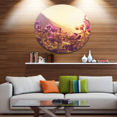 Design Art Mountain Pasture with Purple Flowers Floral Oversized Circle Metal Artwork