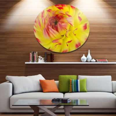 Design Art Smooth Yellow Red Flower Petals Disc Floral Circle Metal Wall Decor