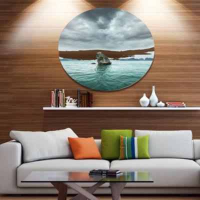 Design Art Island Rock in Halong Bay Vietnam DiscLarge Seashore Circle Metal Wall Decor