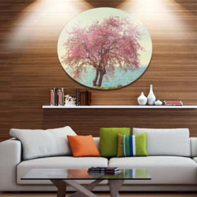Design Art Pink Flowers on Lonely Tree Disc Landscape Circle Metal Wall Decor