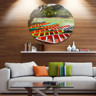 Design Art Colorful Boats in Mexico Disc LandscapeCircle Metal Wall Decor