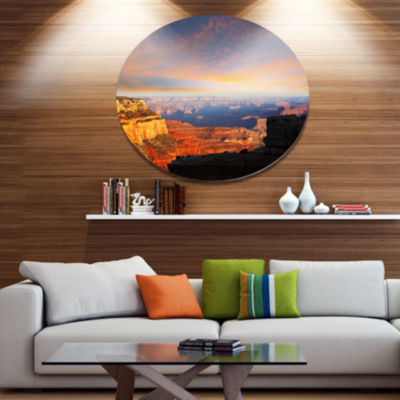 Design Art Beautiful View of Grand Canyon Disc Landscape Wall Art on Metal Wall