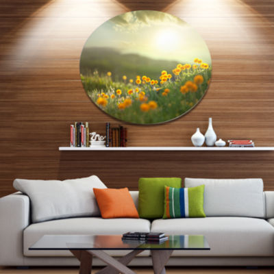 Design Art Yellow Flowers in Meadow At Morning Floral Metal Circle Wall Art