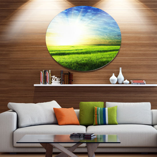 Design Art Bright Green Field At Sunrise Disc Oversized Landscape Circle Metal Wall Decor