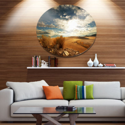 Design Art Prairie under Heavy Clouds Oversized Landscape Oversized Circle Metal Artwork