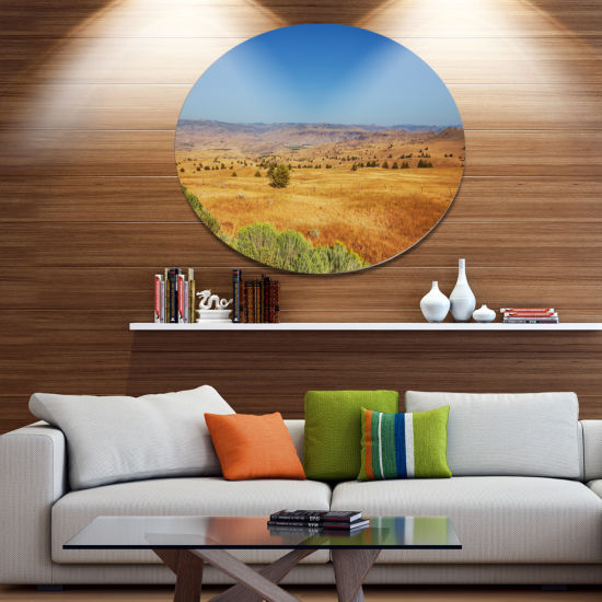 Design Art Prairie with Bright Blue Sky Disc Landscape Circle Metal Wall Decor