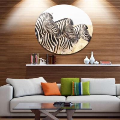 Design Art Zebras in A Row in Grassland African Metal Circle Wall Art Print