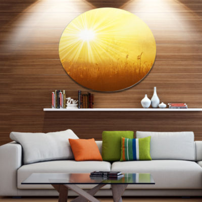 Design Art Amazing Sunrise over Meadow Oversized Landscape Metal Circle Wall Art