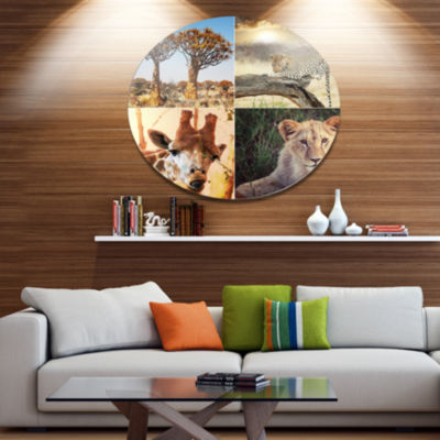 Design Art African Safari Wildlife Collage Disc African Landscape Circle Metal Wall Decor