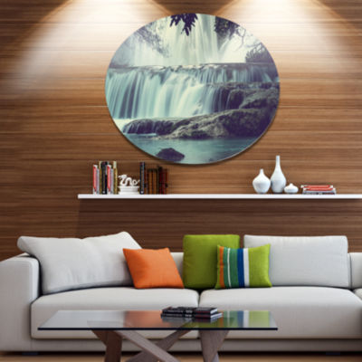 Design Art Amazing Waterfall in Mexico Disc Landscape Circle Metal Wall Decor