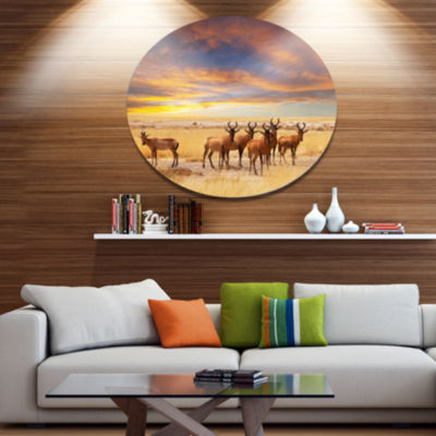 Design Art Herd of Antelope in Etosha Park Disc African Landscape Circle Metal Wall Decor
