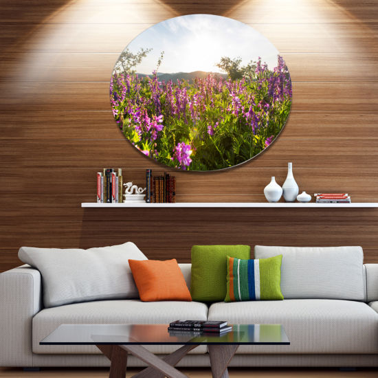 Design Art Amazing Summer Pasture with Flowers Disc Floral Circle Metal Wall Decor