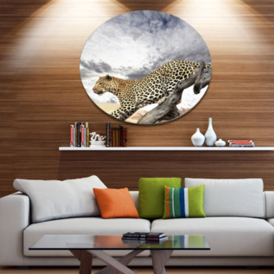 Design Art Leopard on Tree under Cloudy Sky African Metal Circle Wall Art Print