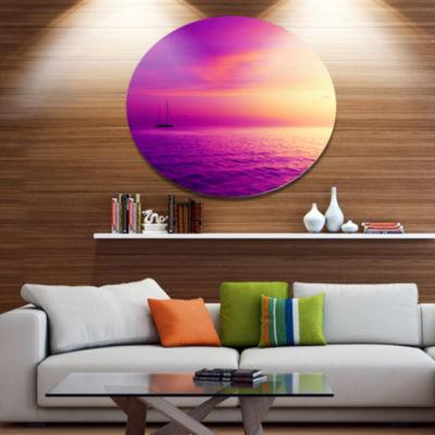 Design Art Purple Sea in Maldives At Sunset Disc Large Seashore Circle Metal Wall Decor