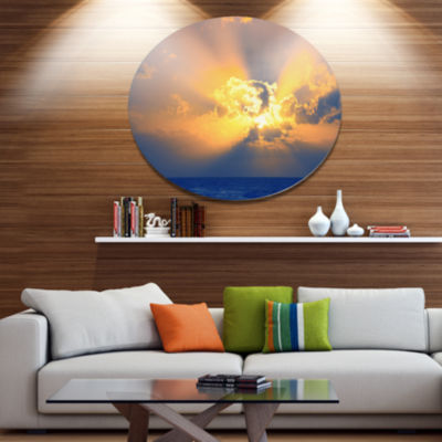 Design Art Scenic Yellow Sunset in Ocean OversizedLandscape Metal Circle Wall Art