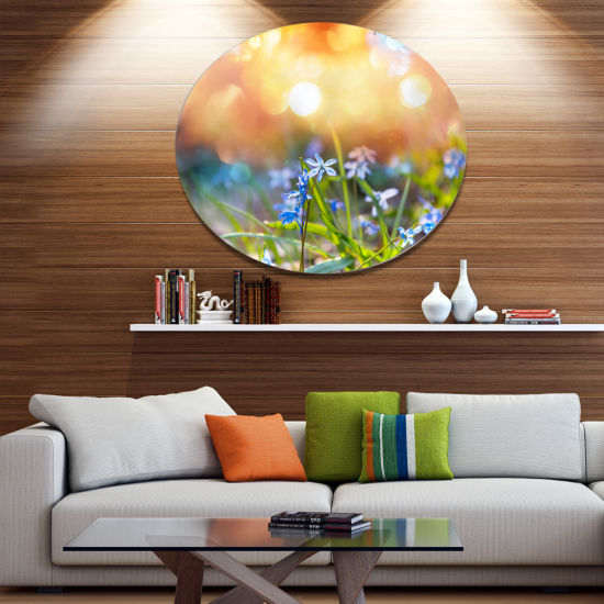 Design Art Little Flowers Meadow with Snowdrops Disc Floral Circle Metal Wall Decor