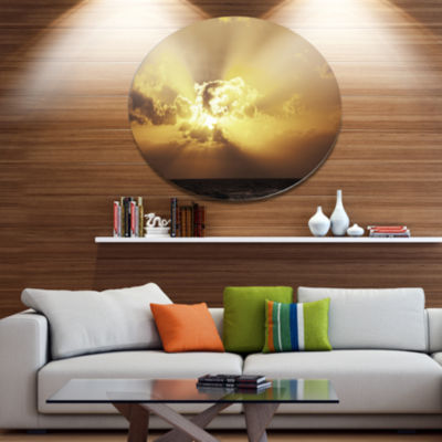 Design Art Majestic Sea Sunset Through Clouds DiscLandscape Wall Art on Metal Wall