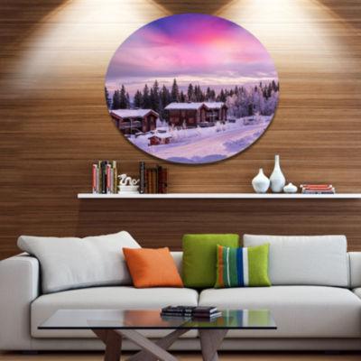 Design Art Frosty Winter Resorts in Forest Disc Landscape Wall Art on Metal Wall