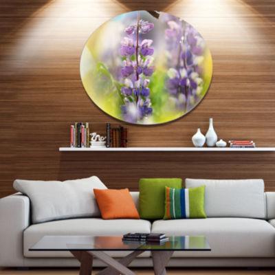Design Art Beautiful Blue Lupin Flowers Large Flower Oversized Circle Metal Artwork
