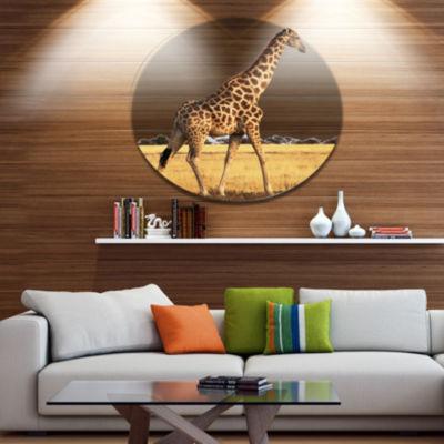 Design Art Single Giraffe in Africa Walking ExtraLarge African Metal Circle Wall Art