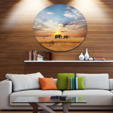 Design Art Elephants Walking Along River Bank Animal Metal Circle Wall Art