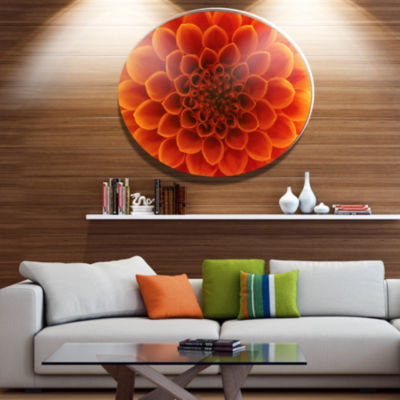 Design Art Large Dark Yellow Flower and Petals Disc Floral Circle Metal Wall Decor
