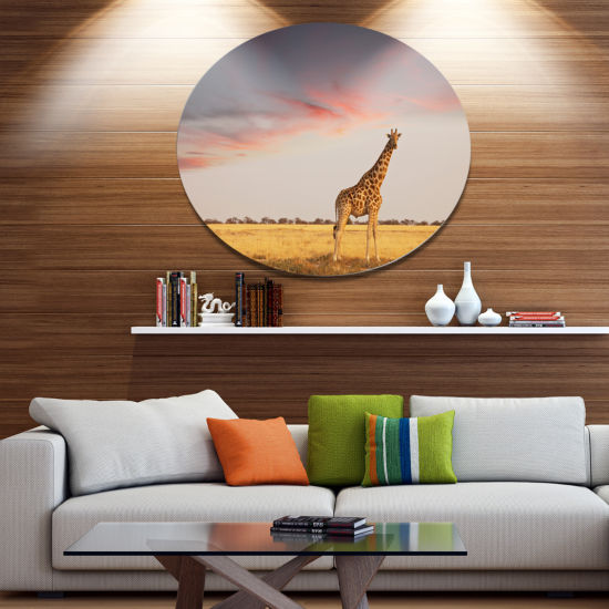 Design Art Single Giraffe in Savannah African Metal Circle Wall Art