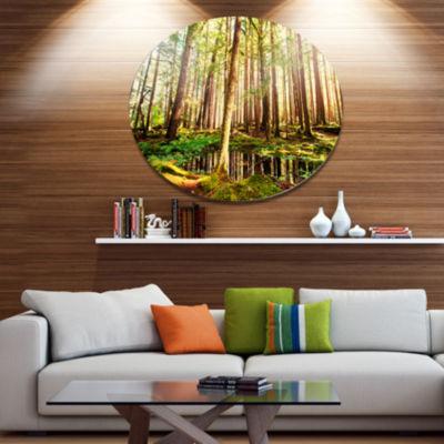 Design Art Dense Trees in Green Rain Forest Oversized Landscape Oversized Circle Metal Artwork
