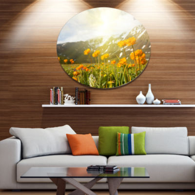Design Art Mountain Pasture with Yellow Flowers Floral Oversized Circle Metal Artwork