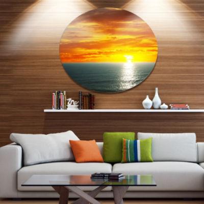 Design Art Fantastic Sunset over Sea Waters LargeSeashore Metal Circle Wall Art