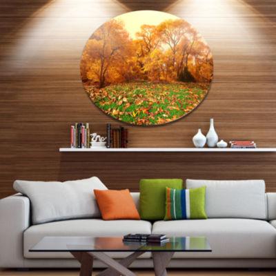 Design Art Beautiful Autumn with Green Grass Oversized Landscape Metal Circle Wall Art