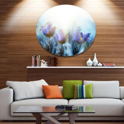 Design Art Blooming Blue Spring Flowers Floral Metal Circle Wall Art