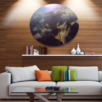 Design Art Mountain Above the Clouds View Landscape Oversized Circle Metal Artwork