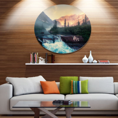 Design Art Glacier National Park Montana Disc Landscape Circle Metal Wall Decor