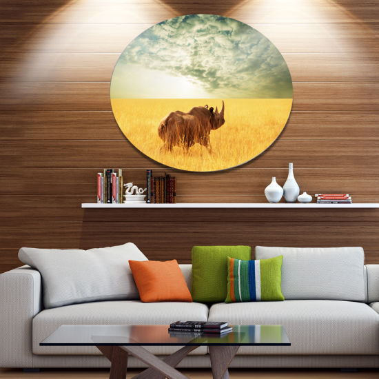 Design Art Rhino in Grassland under Cloudy Sky African Oversized Circle Metal Artwork