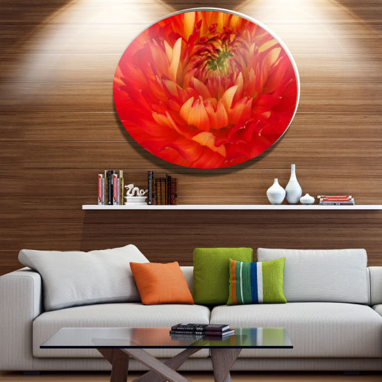 Design Art Bright Red Close Up Flower Petals DiscFloral Circle Metal Wall Decor