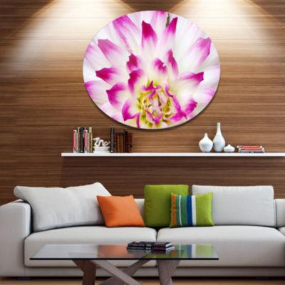 Design Art Smooth White Rose Floral Petals Disc Floral Circle Metal Wall Decor