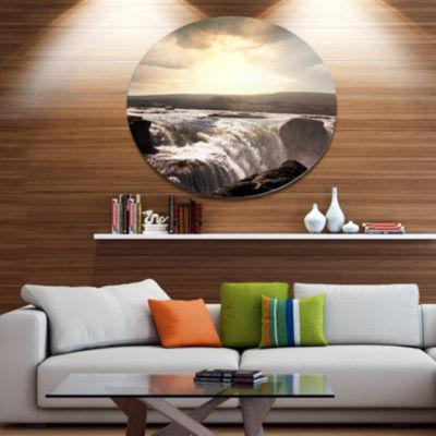 Design Art White Waterfalls in Iceland Disc LargeSeashore Circle Metal Wall Decor