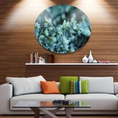 Design Art Small White Flowers on Blue BackgroundFloral Oversized Circle Metal Artwork