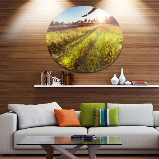 Design Art Farm Road in Rural Meadow Disc Landscape Circle Metal Wall Decor