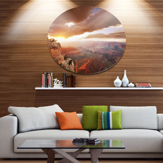 Design Art Grand Canyon under Thunderstorm Sky Oversized Landscape Metal Circle Wall Art