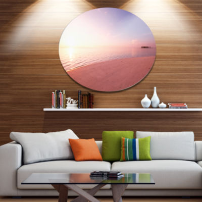 Design Art Serene Maldives Seashore At Sunset Oversized Landscape Metal Circle Wall Art