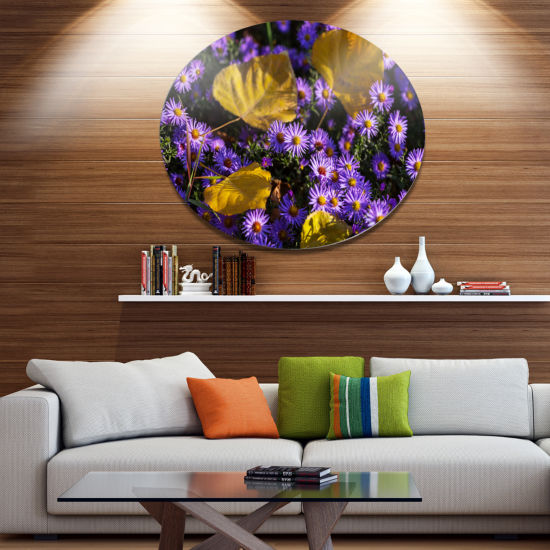 Design Art Little Purple Flowers and Yellow LeavesFloral Oversized Circle Metal Artwork