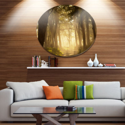 Design Art Deep Jungle with Foggy Sunlight Oversized Landscape Metal Circle Wall Art